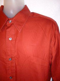 EDDIE BAUER Mens Dress Shirt Classic Fit Burnt Orange Cotton Long Sleeve XLT #EddieBauer