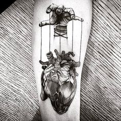 Top 90 Anatomische Herz Tattoo Ideen - Inspiration Guide] - Gentleman With Heart Tattoo, gezogen von Puppet Strings In Blackwork On Thigh - Puppet Tattoo, Marionette Tattoo, Tattoo Drawings, Body Art Tattoos, Sleeve Tattoos, Cool Tattoos, Men Tattoos, Tatoos, Creepy Tattoos