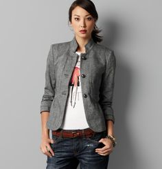 ann taylor loft ruffle back tweed jacket... This whole look is great