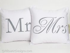 Couples Pillow Cases Mr and Mrs Hand Painted by BrushAndFeather, $55.00