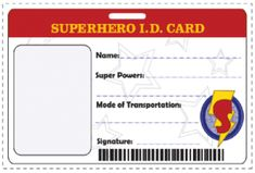 create you own superhero identity - modify for speech days, times, therapist.  have student put in binder/in speech book.