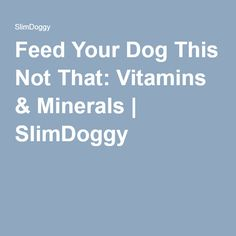 Feed Your Dog This Not That: Vitamins & Minerals | SlimDoggy