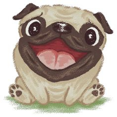 Cartoon picture of happy and smiling pug vector art illustration Pug Illustration, Illustrations, Pug Kawaii, Don Meme, Happy Pug, Pug Cartoon, Pug Art, Pug Love, Clipart