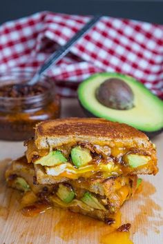 Closet Cooking: Bacon Jam and Avocado Grilled Cheese Sandwich.   This sounds so wrong that I bet it's amazing!