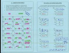 "U-Substitution Drills (highlight the ""u"" and ""du"") ad Derivative/Antiderivative Drills | Math Teacher Mambo"