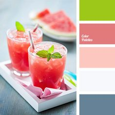 bright red, colour of green mint, colour of watermelon, colour of watermelon drink, colour of watermelon flesh, colour of watermelon rind, coral and gray, coral and green, coral and watermelon, dark green, gray-green, green and