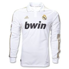 11 12 Real Madrid White Home Long Sleeve Soccer Jersey Shirt Replica  2fa6622bb6116