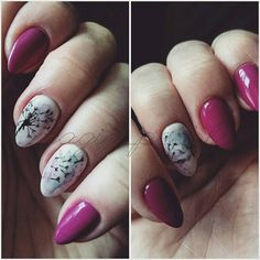 Hybryda na naturalnej płytce z przedłużonym jednym paznokciem+ wzorek ręcznie malowany #hybryda #nails #akwarela #blur #effect #blureffect #nail #nailart #rapidoart #rapidoartnail #magia_pedzla #magiapedzla