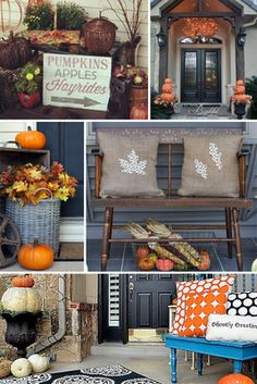 Wishing autumn a warm welcome! 20 fall front porch decorating ideas!!! Bebe'!!! Great resource for fall decorations in. the yard and on the patio, porch, and deck!!!