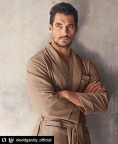 """#DavidGandy (@davidgandy_official) : """"Excited to share a preview of the new @marksandspencer #gandyforautograph loungewear pieces, especially my favorite piece, this Camel herringbone dressing gown. All pieces landing in stores tomorrow. 📷 @hunterandgatti"""" 