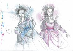 """Elf princesses"", Pencil & crayons on a paper"