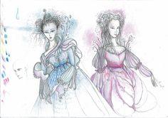 """""""Elf princesses"""", Pencil & crayons on a paper"""