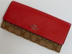 コーチ 財布 レディース COACH 53728SVDQ4 カラーブロック シグネチャー キャンバス 長財布 カーキ×赤