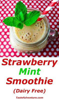 This Strawberry Mint Smoothie that is Low in Fat and is so refreshing made with Mint, Strawberry, Honey Yogurt, and Vanilla. This is Dairy Free and so easy to make for breakfast! | http://Tastefulventure.com
