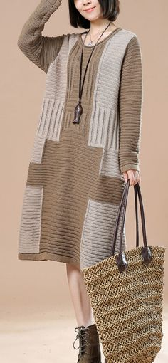 Khaki cable knit sweaters long women knit dress oversize