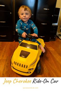 [Ad] Do you also have a very active child who loves ride-on toys? My son has a John Deere Go-Kart, a balancing bike, a push trike, a ride-on hedgehog, a wooden ride-on plane, a plastic Mickey Mouse plane, a tricycle giraffe, and several rockers, but this yellow Jeep Cherokee Ride-On Car is among his favorites. He's zooming around inside and outside. As a plus, it makes very realistic engine sounds! Ride On Toys, Jeep Cherokee, Go Kart, Tricycle, Rockers, Toddler Toys, Plane