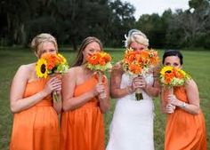 The Dessy Group - The spot for all things bridesmaid. - The spot for all things bridesmaid. Autumn Wedding, Green Wedding, Our Wedding, Wedding Stuff, Orange Wedding Themes, Wedding Colors, Orange Bridesmaid Dresses, Bridesmaids, Designer Wedding Gowns