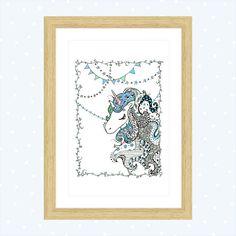 Print fancy unicorn - nursery room - Disegno unicorno decorato  Decorazione per la cameretta di Cestinodimirtilli