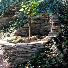 Great way to soften corner of a yard or build into a retaining wall.