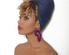 Boucles d'oreilles Kamita Pinky wax (pagne africain)