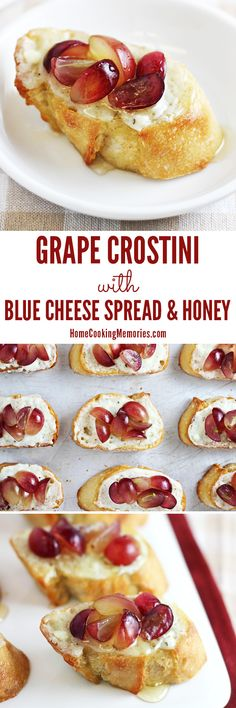 Easy holiday party appetizer recipe: Grape Crostini with Blue Cheese Spread & Honey. Seriously, these are SO GOOD! They look elegant too - great for holiday dinners, like Christmas or Thanksgiving.