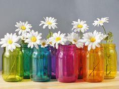 Mason Jar Set of 8 Rainbow Colors For Bright Home by LITdecor
