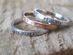 Personalized hand stamped name rings Baby name by MejiaJewelry