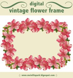 free digital vintage flower frame and scrapbooking embellishment – Vintage Blumenrahmen png – freebie | MeinLilaPark – digital freebies