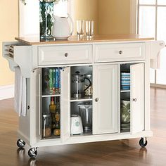 Darby Home Co Headrick Kitchen Cart/Island with Natural Wood Top