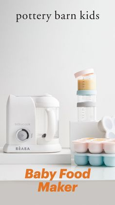 Create nutritious and delicious meals with the Béaba Babycook® baby food maker. Steam cook and blend meats, vegetables and fruits in 15 minutes or less. It also allows you to adjust the texture and consistency of the food as baby gets older. Serve the food fresh or freeze the rest for later – defrosting and reheating in the food maker takes under 10 minutes. Baby Food Makers, Baby Cooking, Pottery Barn Kids, Baby Food Recipes, Tableware, Recipes For Baby Food, Dinnerware, Tablewares, Dishes