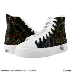 Find brilliant men's sneakers from Zazzle. Whether you like high tops or low top sneakers we have the pair for you. Neon Flowers, Printed Shoes, High Tops, Athletic Shoes, High Top Sneakers, Comfy, Pairs, How To Wear, Men