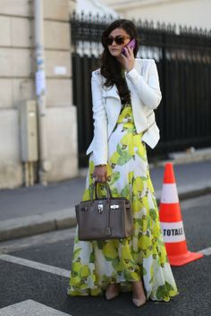 Our 25 Favorite Street Style Snaps from Paris Fashion Week: Peony Lim's fruity dress gives us a healthy dose of what all street style hopefuls should aspire to.