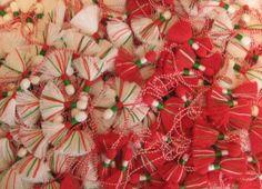 Red and white martenitsi.