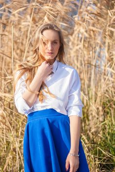 White shirt and a blue maxi skirt for a sunny day