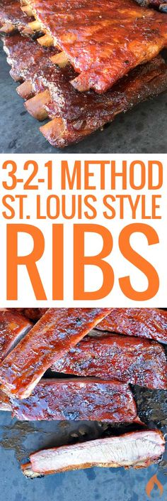 Louis Style Ribs Method) Many competitive barbecue teams use the tried-and-true method when cooking St. This recipe and video will show you how easy it is. Bbq Ribs, Ribs In Oven, Ribs On Grill, How To Barbecue Ribs, Barbecue Chicken, 3 2 1 Ribs, Chicken Dips, Roasted Chicken, Ribs On Smoker