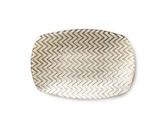 Vietri Chevron Glass Taupe Rectangular Tray