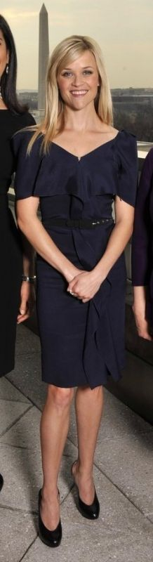 Reese Witherspoon wearing RM by Roland Mouret Circe silk-gazar dress, Christian Louboutin Somewhere Slingbacks in Black,