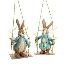 """Set of 2 Sisal Easter Bunny Rabbit Spring Decorations on Swings 28"""""""