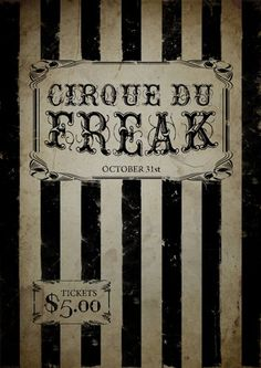 Cirque Du Freak Poster, Gothic Poster, Circus Poster, Carnival Poster, Freakshow, Size:16.5 Inch X 11.7 Inch, Art Print, Unframed You Mother Punker http://www.amazon.com/dp/6042130471/ref=cm_sw_r_pi_dp_7HPrub1ME1JMS