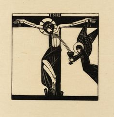 """Jesus Dies Upon the Cross"" by Eric Gill (1917).  Tate Collection.  Relief print on paper."