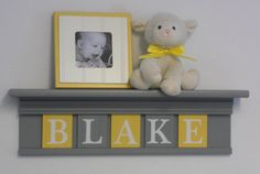 "Yellow and Gray Nursery Wall art - Yellow Baby Boy Nursery Decor - BLAKE - Personalized 24"" Grey Wood Shelf 5 Wooden Wall Letters. $45.00, via Etsy."
