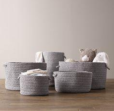 Braided Wool Baskets in gray by Restoration Hardware