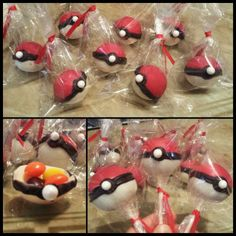 Pokeball Cakepops and Hollow Chocolate Pokeballs with Candy inside (going to put a mini Pokemon inside)