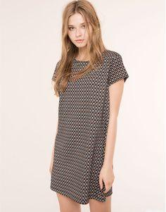 Pull&Bear - для женщин - специальные цены - платье жаккардовое с короткими рукавами - цвет черепицы - 09392319-I2015