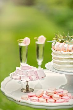 Marshmallow desserts and macaron topped cake | Cake by Nicole | see more on: http://burnettsboards.com/2014/08/hidden-garden-bridal-inspiration/