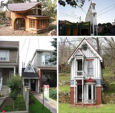Crowded House: 5 Silly Small Homes & Cheap Tiny Houses Micro House Plans, Cheap Tiny House, Crowded House, Think Small, Small Buildings, Unusual Homes, Little Houses, Tiny Houses, My Dream Home