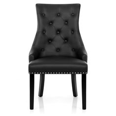 Ascot Dining Chair Black Leather