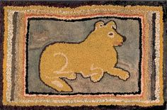 American hooked rug, early 20th c. with dog; Elinor Barrett board has lots of animal rugs