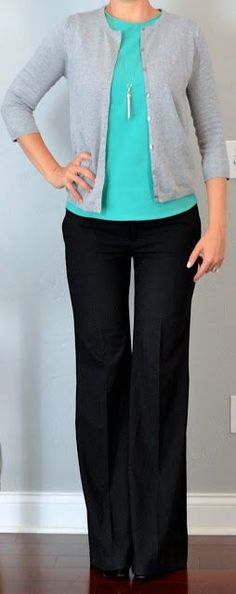 Outfit Posts: Top: Teal crewneck shell - Zara Grey cardigan - Zara Bottom: Black wide leg pants - Zara Shoes: Black pumps - Alfani (Macy's brand) Accessories: Rebel pendant necklace - Stella Dot