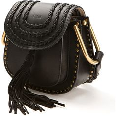 Chloé Hudson Mini Black Smooth And Braided Leather Bag ($1,585) ❤ liked on Polyvore featuring bags, handbags, shoulder bags, black studded shoulder bag, mini purse, black handbags, mini handbags and studded purse